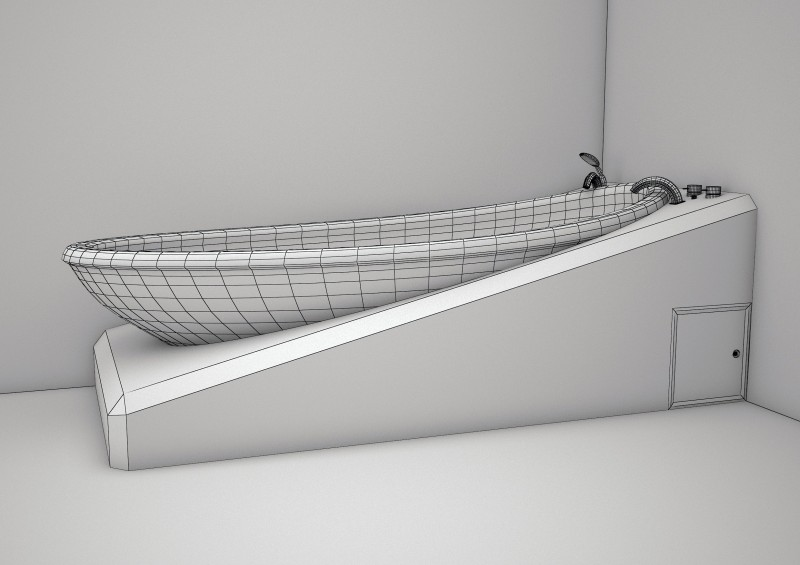 3ds max white bath tub model 3D model