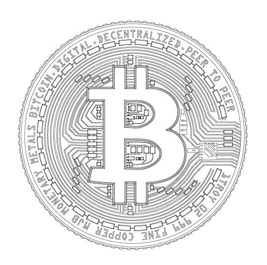 Bitcoin BTC Detailed model 2D vector drawing logo