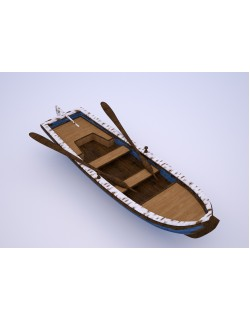 blue old boat model 3d 3D model
