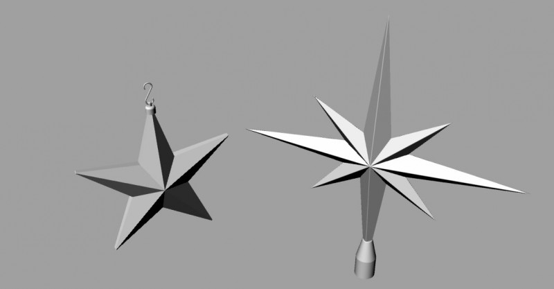 Christmas Star And Tree Topper 3D Model For Download