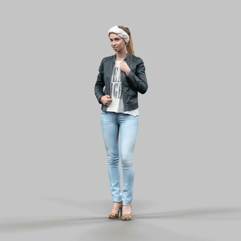 Cute girl in jeans leather jacket and bandana