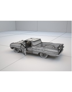 green classic smashed car 3d model 3D model