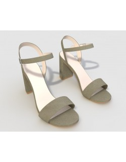 Grey Suedette Block Heel Sandals