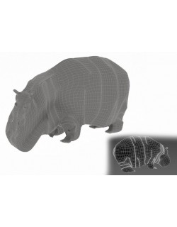 Hippopotamus 3D model with base texture