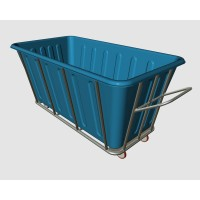 Industrial Plastic Laundry Trolley Basket On Wheels
