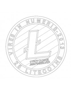 Litecoin LTC Detailed model 2D vector drawing logo