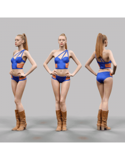 Sexy Woman in Blue and Orange Swimsuit Bikini Posing A-Pose VR / AR / low-poly 3D model