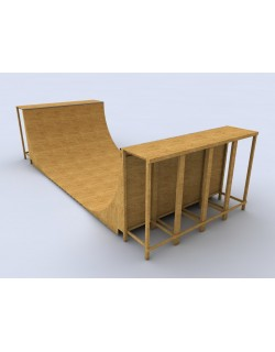 Skateboard ramp wooden half pipe