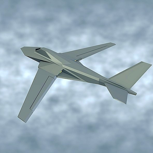 Stealth lowpoly aircraft concept