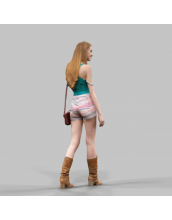 Summer Girl Walking VR / AR / low-poly 3D model