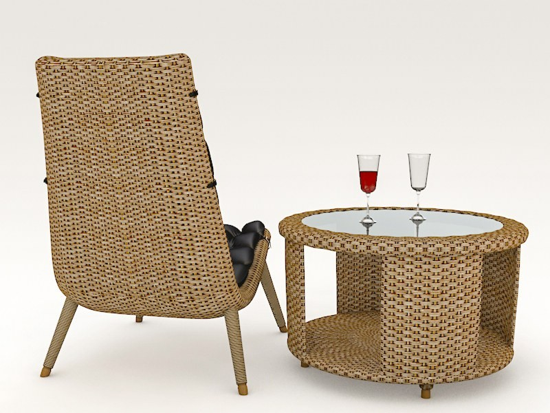 WICKER CHAIR AND TABLE