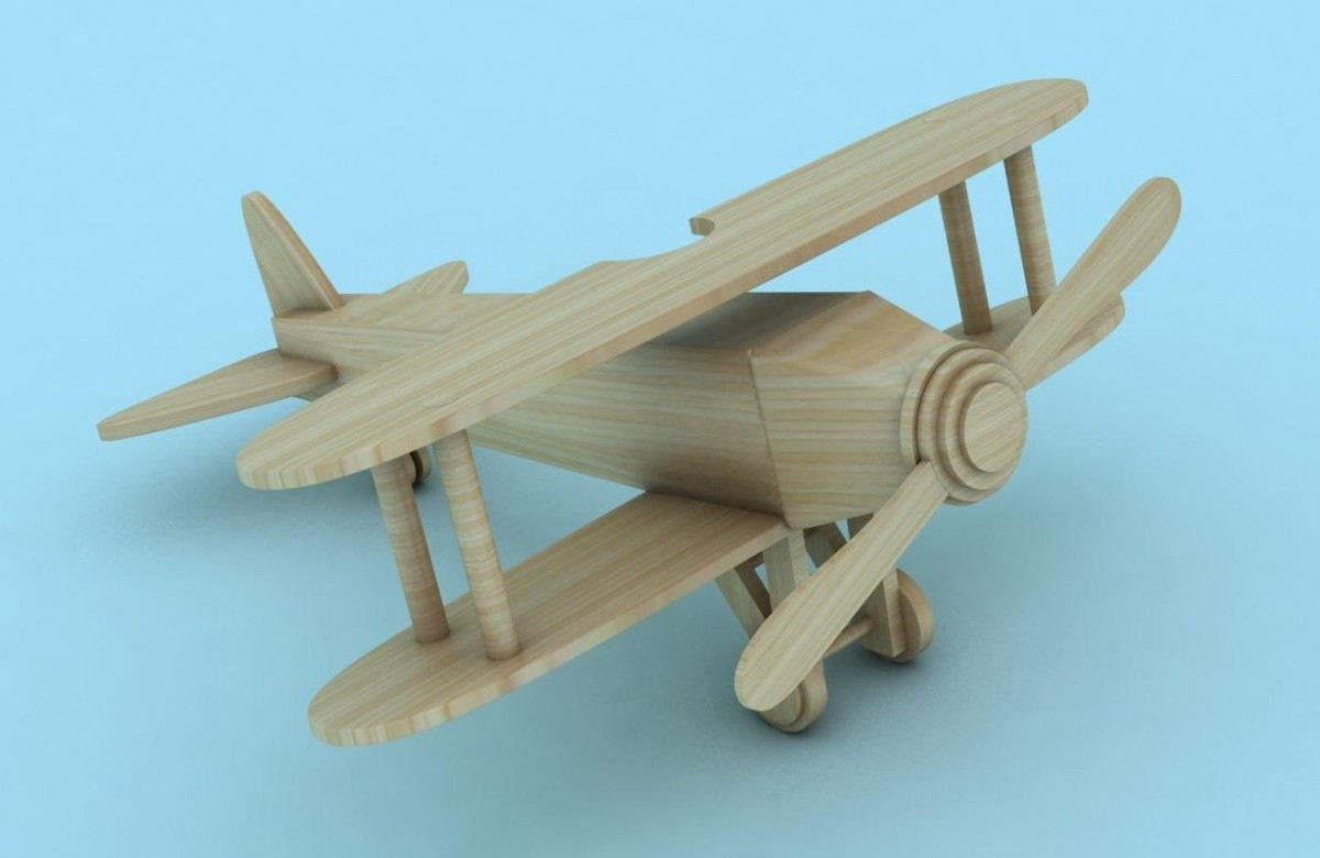 Wooden aircraft 3D Model for Download