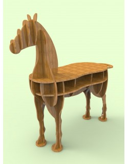 Wooden Horse Table 3d Model